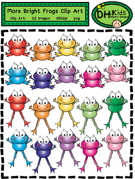 More Bright Frogs Clip Art - Personal and Commercial Use