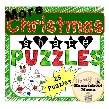 More Christmas Shape Puzzles with Santa and Reindeer Shapes