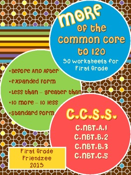 More Common Core to 120 Math Worksheets for First Grade