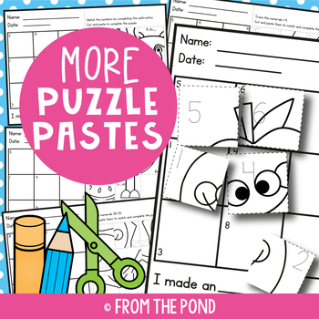More Puzzle Pastes - Cut Paste Worksheets for Numbers