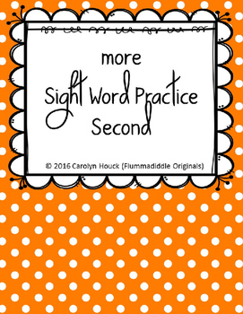 "More Sight Word Practice Dolch Second 1/2"" Lines"