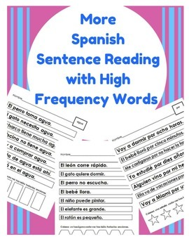 More Spanish Sentence Reading (HFW for Beginners) palabras