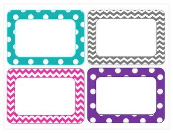 More chevron and polka dot classroom labels
