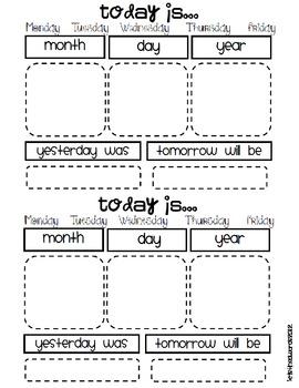 Morning Calendar for Journals