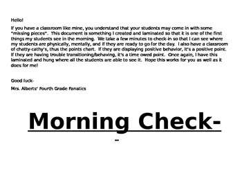 Morning Check-in and Behavior Chart
