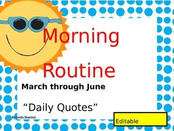 Morning Routine for Spring - Classroom Organization