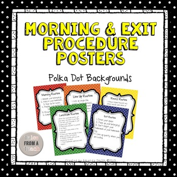 Morning & Exit Procedures: Polka Dot Theme Posters