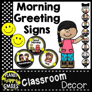 Morning Greeting or Saying Good-Bye Signs ~ Polka Dot and