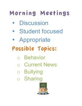 Morning Meeting Anchor Chart