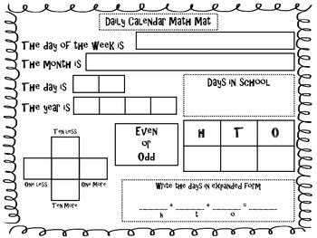 Morning Meeting Calendar Sheet