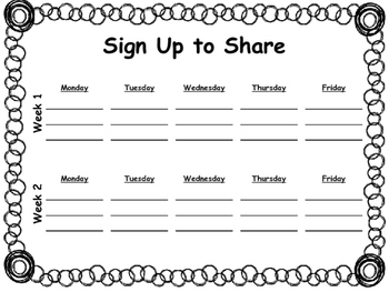 Morning Meeting: Sign up to Share