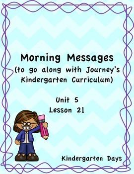 Morning Messages for Journey's Kindergarten Unit 5 Lesson 21