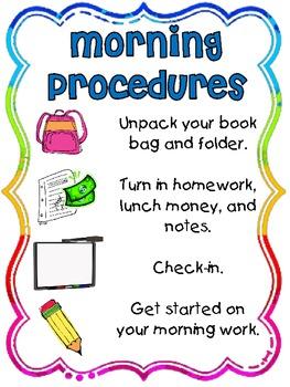 Morning Procedures Poster {Freebie}