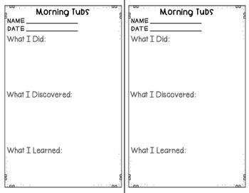 Morning Tub Work Response Sheet