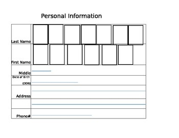 Morning Warm up - Personal Information