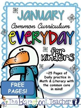 FREE Kindergarten Morning Work {January}