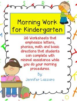 Morning Work Kindergarten FREEBIE!!!! Letters, Phonics, an