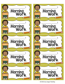 Morning Work Labels