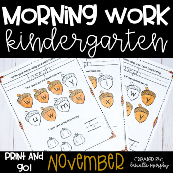 Morning Work November--Kindergarten--No Prep!