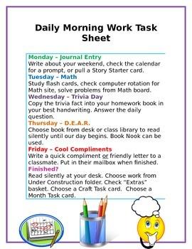 Morning Work Task Sheet