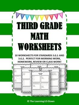Morning Work: Third Grade Common Core Geometry Math Worksheets