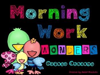 Morning Work Wonders Spring Edition (math, rhyming, CVC wo