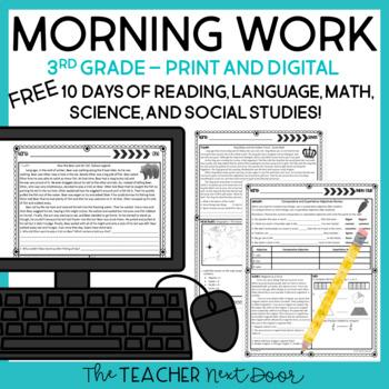 Morning Work for 3rd Grade: Free Week