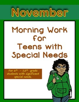 Morning Work for Teens with Special Needs (November)