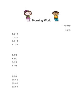 Morning Worksheet