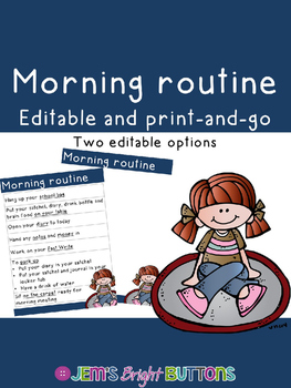 Morning routine poster - editable