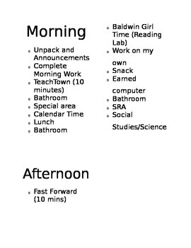 Morning/Afternoon Schedule