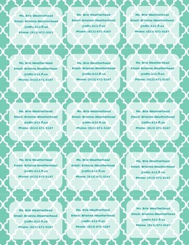 Moroccan Print Teacher Info Magnet **Editable