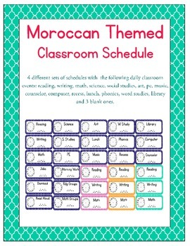 Moroccan Themed Classroom Schedule