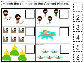Moses Match the Number Game. Preschool Bible History Curri