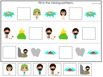 Moses Missing Pattern Game. Preschool Bible History Curric