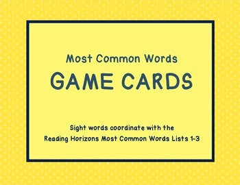 Most Common Words Lists: Game Cards Lists 1-3 ~ Reading Ho
