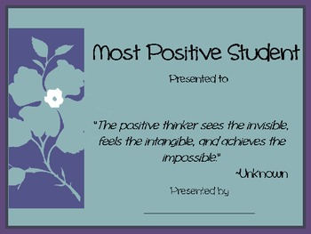 Most Positive Student Award