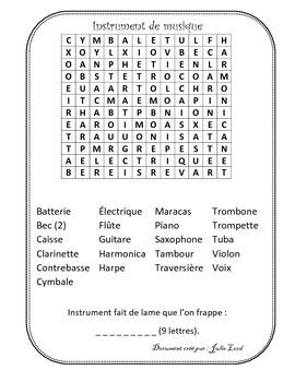 Mot caché sur les instruments de musique