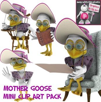 Mother Goose Clip Art Pack - Mini Clip Art Pack of 4 Color Images