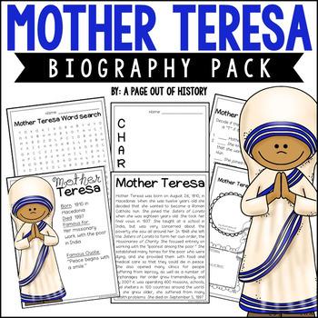 Mother Teresa Mini Unit - Reading Passage, Graphic Organiz