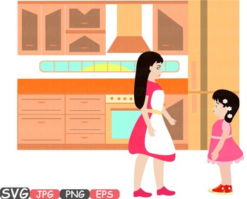 Mother and Daughter kitchen mom clipart Mother's day gifts