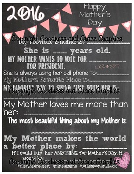 Mother's Day Chalkboard Printable - Gift from Students