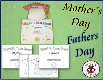 Editable Mother's and Father's Day Diploma Activity Writing