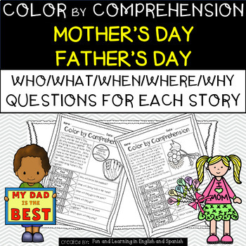 Mother's Day & Father's Day (Color by Comprehension Storie