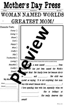 Mother's/Grandmother's Day Newspaper EDITABLE