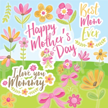 Mother's day clipart commercial use, vector graphics, digi