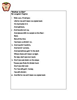"""""""Mother to Son"""" by Langston Hughes Close Read"""