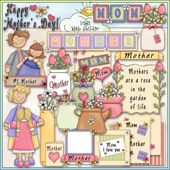 Mother's Day Clip Art - Mom Clip Art - CU Clip Art & B&W