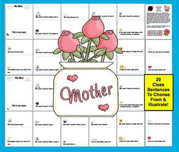 Mother's Day Booklet - 20 cloze sentences to choose from -