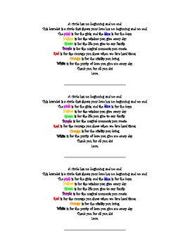 Mother's Day Bracelet Poem with Student Directions